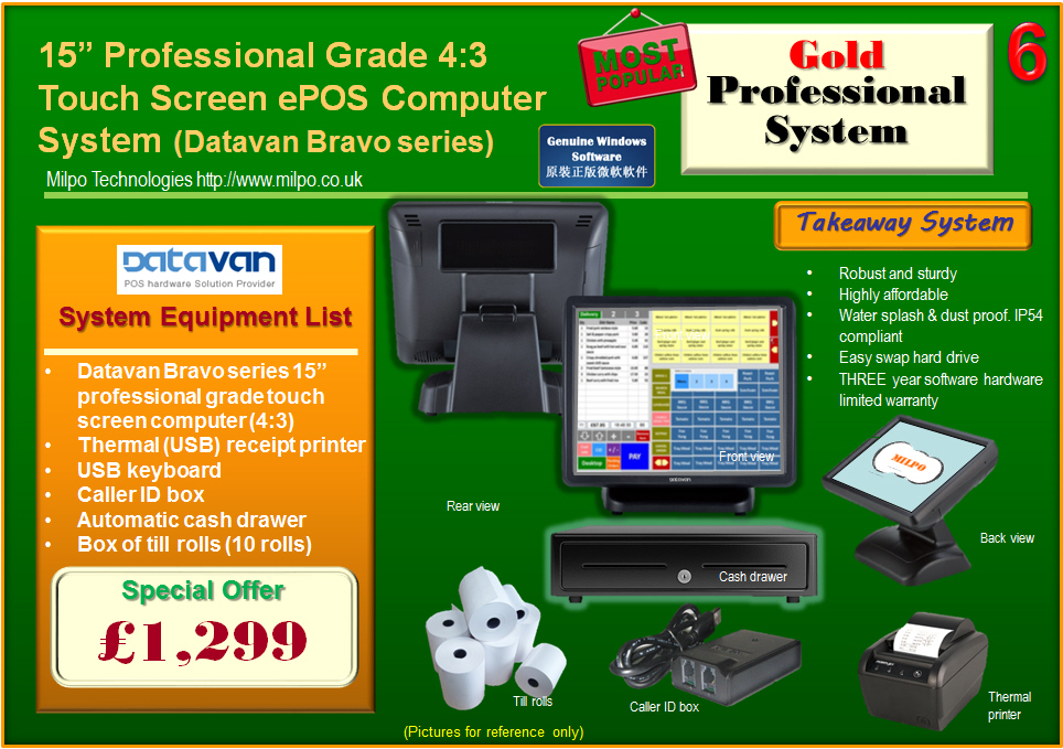 Gold Professional ePOS System for Takeaways (T6)
