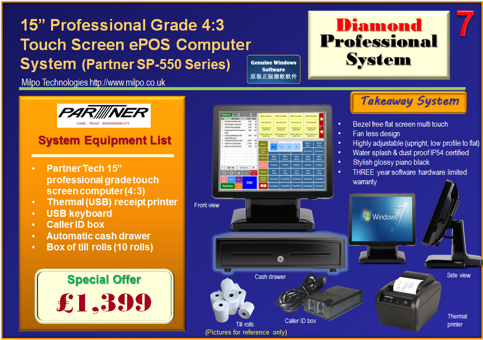 Diamond Professional ePOS System for Takeaways (T7)